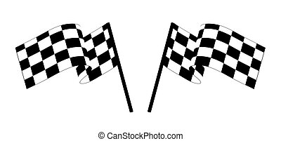 checked flags - Black and white checked racing flag. Vector...