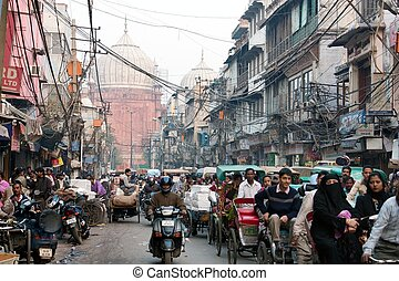 Overcrowded street in old Delhi - INDIA, OLD DELHI, 5th of...