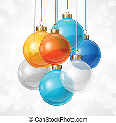 Holiday background card template with christmas balls.