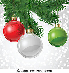 Holiday background card template with christmas balls