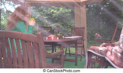 dinner table gazebo girl - Nice prepared dinner table with...