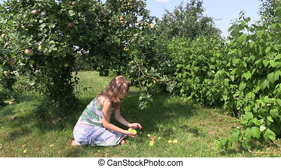 girl apple tree garden - pregnant girl sitting under apple...