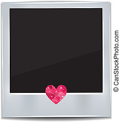 Photo frame with heart on white background. Vector image.