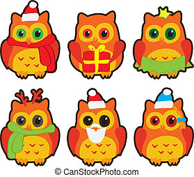 owls in winter hats colored vector