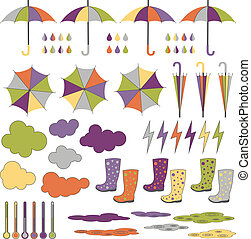 Rubber boots, umbrellas, rain. Vector set. - Rubber boots...