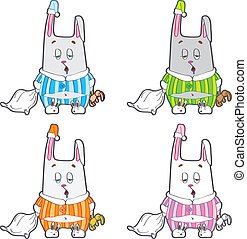 Sleepy bunny pajamas. - Rabbit with a pillow and a soft toy...