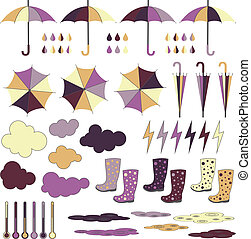 Rubber boots, umbrellas, rain Vector set - Rubber boots...
