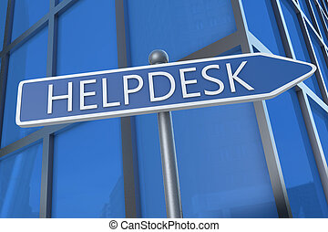 Helpdesk - illustration with street sign in front of office...