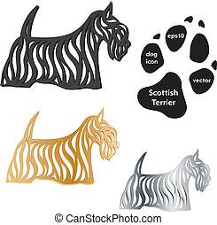 schottische, terrier, hund, Ikone, vektor, weißes,...