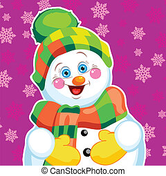 Snowman on green background with patterns.