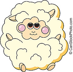 Fun sheep on white background. Vector illustration.