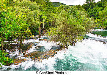 Una river rapids - Rapids on Una river. Martin Brod, Bosnia...