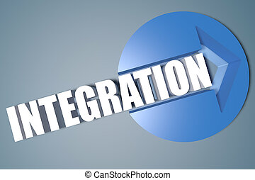 Integration - 3d text render illustration concept with a...