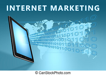 Internet Marketing illustration with tablet computer on blue...