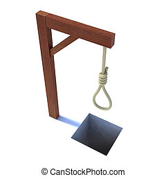 noose gallows - noose hanging from a gallows 3d illustration