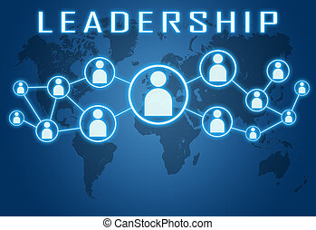 Leadership concept on blue background with world map and...
