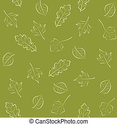 Seamless green pattern with leaves