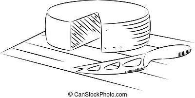 Block of cheese and knife on a white background, linear vector illustration