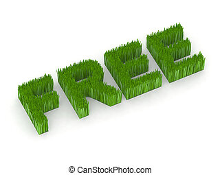 free written with grass 3d illustration