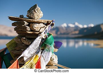 Tso Moriri Lake with prayer flags - Ladakh - Jammu and...