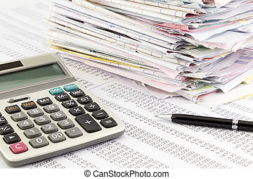 invoice summary - calculator and invoices on financial...