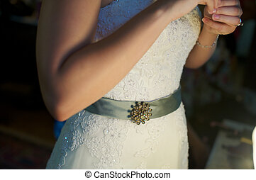 Bride with Brooch - bride with a broach on a cool belt