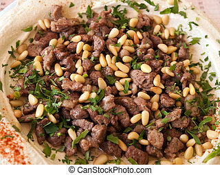 Hummus with lamb meat Middle East food