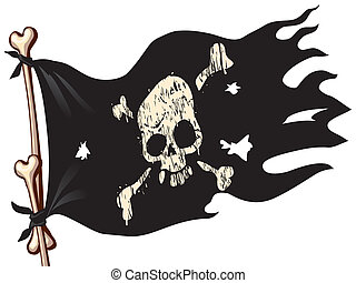 Pirate flag - Waving flag with jolly Roger Eps8 CMYK...