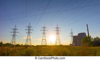 power line at sunset, time-lapse