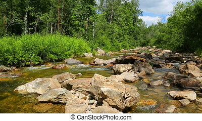 mountain river flowing over rocks in summer - slider dolly...