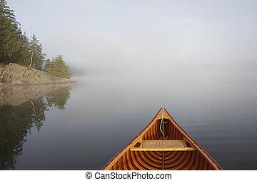nebbioso, lago, canoismo