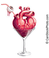 Halloween cocktail - Martini glass with a heart and a straw...