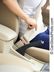 woman driver buckle up seat belt - woman driver buckle up...