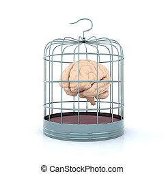 brain in birdcage 3d illustration