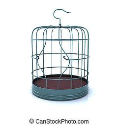 broken bird cage, the concept of escape