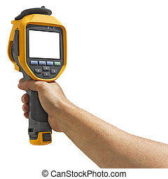 Man recording with thermal camera - Man recording with a...