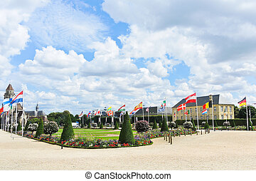 European flags on square in Caen, France - European flags on...