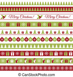 Christmas borders - Vector seamless horizontal borders for...