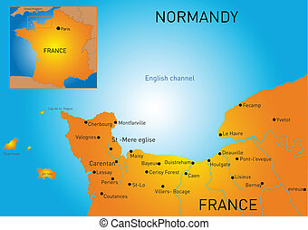 Normandy - Vector color map of Normandy coast