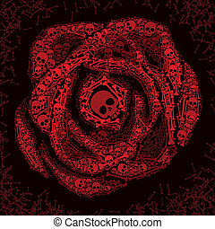 Red rose of skulls and bones - Rose consist of skulls and...