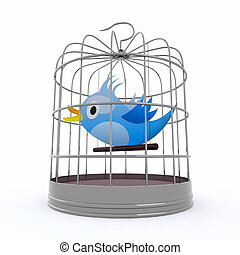 blue bird inside the cage that chirps, 3d illustration