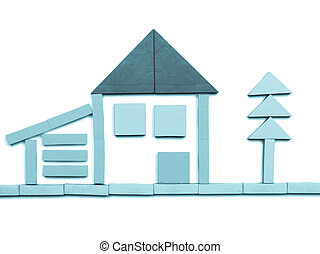 Tangram game toy with detached house - cool cyanotype