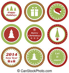 Christmas tags - Cupcake toppers for Christmas and New Year