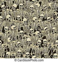 Skeletons seamless background - Fun skeletons Seamless...