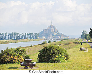 scenery with mont saint-michel abbey, Normandy
