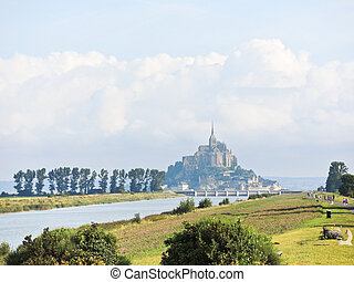 scene with mont saint-michel abbey, Normandy