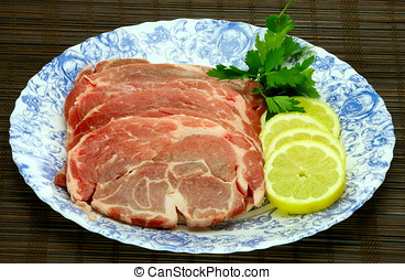 slices of fresh pork meat