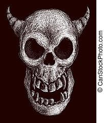 Daemon skull - Hand drawn daemon skull. Eps8. Organized by...