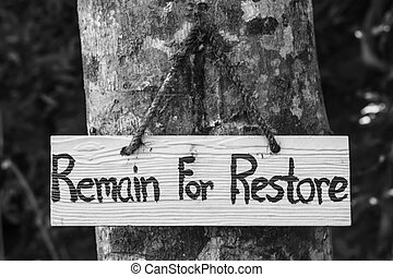 Signs remain for restore on tree