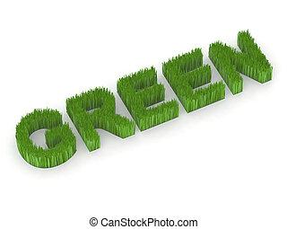 written green with grass 3d illustration